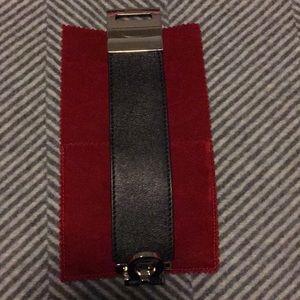 Ferragamo wide leather bracelet with silver fasten